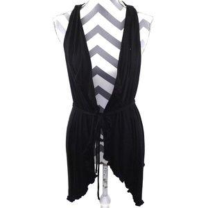 Anthropologie Deletta Ruffled Drape Jersey Vest